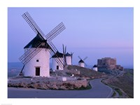Windmills, La Mancha, Consuegra, Castilla-La Mancha, Spain In Blue Light Fine-Art Print