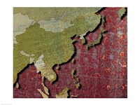 Close-up of a world map - red Fine-Art Print