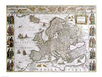 Close-up of the map of Europe, Joan Bleau, 1630 Fine-Art Print