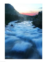 River flowing around rocks at sunrise, Sunrift Gorge, US Glacier National Park, Montana, USA Fine-Art Print