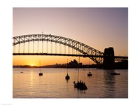 Sunrise over a bridge, Sydney Harbor Bridge, Sydney, Australia Fine-Art Print