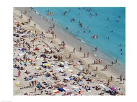 Aerial view of people at the beach, Waikiki Beach, Honolulu, Oahu, Hawaii, USA Fine-Art Print
