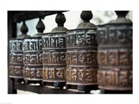 Close-up of prayer wheels, Kathmandu, Nepal Fine-Art Print
