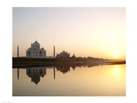 Silhouette of the Taj Mahal at sunset, Agra, Uttar Pradesh, India Fine-Art Print