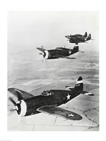 Three fighter planes in flight, P-47 Thunderbolt Fine-Art Print
