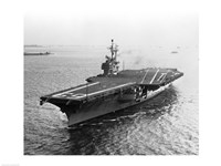 High angle view of an aircraft carrier in the sea, USS Forrestal (CVA-59) Fine-Art Print
