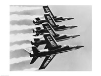 Four fighter planes flying in a formation, Blue Angels, US Navy Precision Flight Team Fine-Art Print