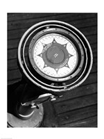 Close up of compass on deck of boat, Compass-Gyro Repeater Fine-Art Print