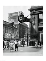 Clock mounted on the wall of a building, Marshall Field Clock, Marshall Field and Company, Chicago, Illinois, USA Fine-Art Print