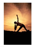 Silhouette of Yoga Pose Extended Triangle Fine-Art Print