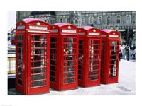 Telephone booths in a row, London, England Fine-Art Print