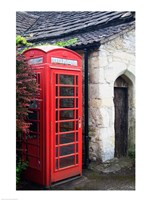 Telephone booth outside a house, Castle Combe, Cotswold, Wiltshire, England Fine-Art Print
