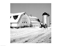 Farmer on Tractor Clearing Snow Away Fine-Art Print