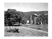Tractor Raking a Field, East Ryegate, Vermont, USA Fine-Art Print