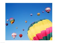 View of Hot Air Balloons Flying into the Sky in New Mexico Fine-Art Print