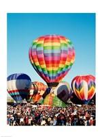 Floating hot air balloons, Albuquerque International Balloon Fiesta, Albuquerque, New Mexico, USA Fine-Art Print