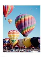Low angle view of hot air balloons in the sky, Albuquerque International Balloon Fiesta, Albuquerque, New Mexico, USA Fine-Art Print