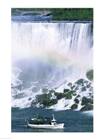 Boat in front of a waterfall, American Falls, Niagara Falls, New York, USA Fine-Art Print