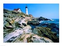 Lighthouse at the coast, Portland Head Lighthouse, Cape Elizabeth, Maine, USA Fine-Art Print