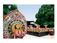 Decorative drum in front of a building, Meiji Jingu Shrine, Tokyo, Japan Fine-Art Print