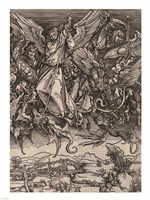 St. Michael Fighting the Dragon by Albrecht Durer, 1498 Fine-Art Print