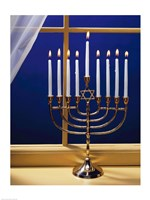 Close-up of burning candles on a menorah at a window Fine-Art Print