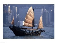 Chinese Junk sailing in the sea, Hong Kong Harbor, Hong Kong, China Fine-Art Print