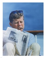 President Kennedy Reading the New York Times Fine-Art Print