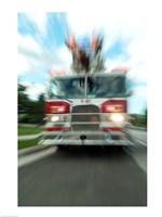 Fire engine on a road Fine-Art Print