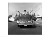 Fire engine on road Fine-Art Print
