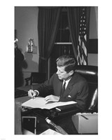 Proclamation Signing, Cuba Quarantine. President Kennedy. White House, Oval Office Fine-Art Print