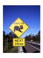 Close-up of a crossing sign on the road side, Australia Fine-Art Print