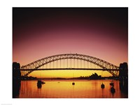 Silhouette of a bridge across a harbor, Sydney Harbor Bridge, Sydney, New South Wales, Australia Fine-Art Print