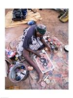 Female artist painting, Alice Springs, Northern Territory, Australia Fine-Art Print