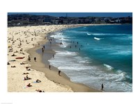 High angle view of tourists on the beach, Sydney, New South Wales, Australia Fine-Art Print
