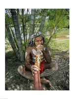 Aborigine playing a didgeridoo, Cairns, Queensland, Australia Fine-Art Print