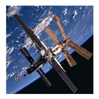 Mir Space Station And Earth Fine-Art Print