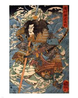 Samurai riding the waves on the backs of large crabs Fine-Art Print
