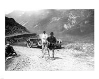 The Belgian Maurice Geldhof is climbing part of the Aubisque on foot. Tour de France 1928 Fine-Art Print