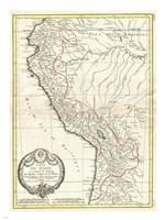 1775 Bonne Map of Peru, Ecuador, Bolivia, and the Western Amazon Fine-Art Print