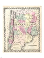 1855 Colton Map of Argentina, Chile, Paraguay and Uruguay Fine-Art Print