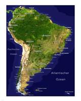South America - Satellite Orthographic Political Map Fine-Art Print