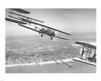 U.S. Army Air Corps Curtiss B-2 Condor bombers flying over Atlantic City Fine-Art Print