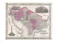 1864 Johnson Map of Washington D.C. and Georgetown Fine-Art Print