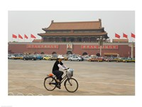 Tourist riding a bicycle at a town square, Tiananmen Gate Of Heavenly Peace, Tiananmen Square, Beijing, China Fine-Art Print