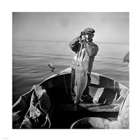 Hauling in a cod aboard a Portuguese fishing dory off Cape Cod, Massachusetts Fine-Art Print