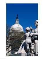Spirit of Justice statue in front of a government building, State Capitol Building, Washington DC, USA Fine-Art Print