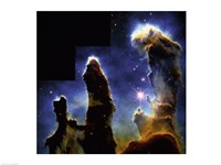 Gaseous pillars of M-16 Eagle Nebula, Star birth photographed by Hubble Space Telescope Fine-Art Print