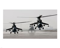 MI-35 attack helicopters from the Afghan National Army Air Corps Fine-Art Print