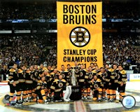 The Boston Bruins raise their 2011 Stanley Cup Chapionship Banner Fine-Art Print